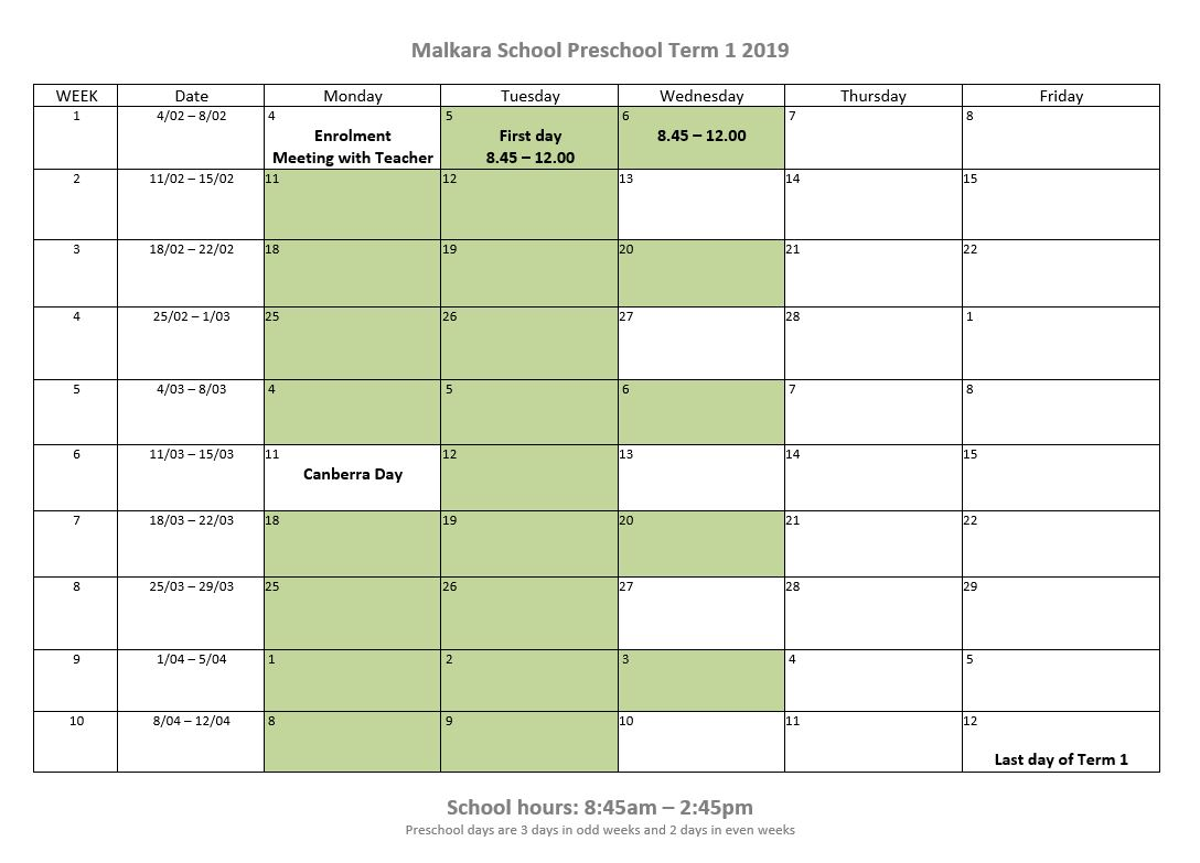 photo relating to Preschool Calendar Printable called Preschool Calendar - Malkara College